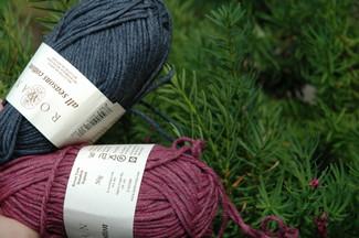 rowan all seasons cotton in dusky and blackcurrant